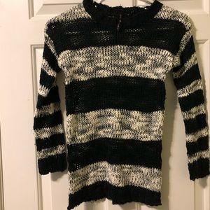 Poof Girl sweater, black/white stripes, textured